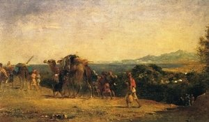 Eugene Fromentin - Arab Caravan by the Shore