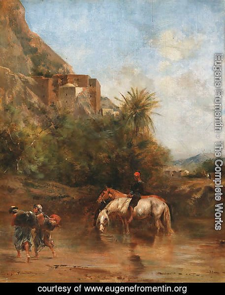 Horses watering, North Africa